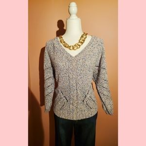 New York & Co multi colored crochet sweater M